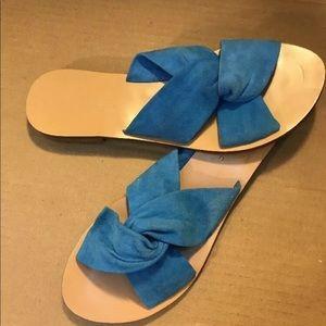 Banana Republic Blue Suede Slides